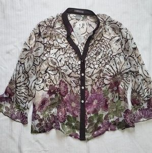 NWT Sheer floral top